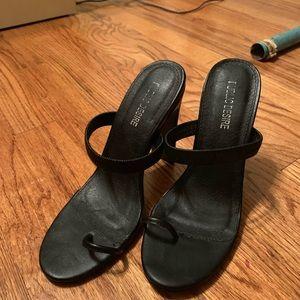 Open Toe Loop Heels in Black